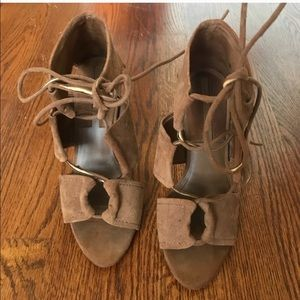 Zara Suede Lace Up Heels size 8